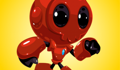 red robot running game